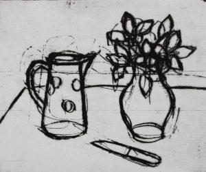 Still life, jug basil and knife